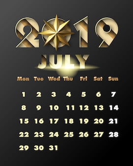 2019 happy new year with gold paper cut art and craft style. calendar for july