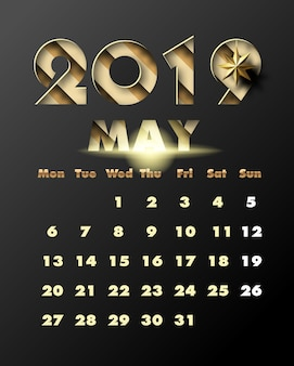 2019 happy new year with gold paper cut art and craft style. calendar for may