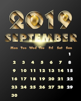 2019 happy new year with gold paper cut art and craft style. calendar for september