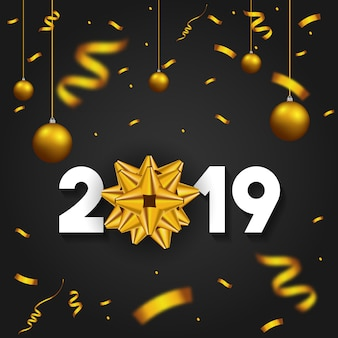 2019 Happy New Year with golden gift bow confetti