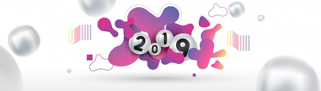 2019 happy new year with with liquid dynamic fluid spheres