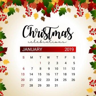 2019 January calendar design template