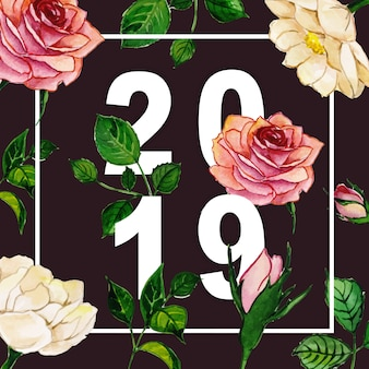 2019 lettering typography with watercolor floral