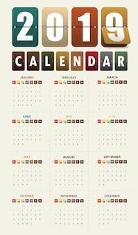 2019現代のカレンダーテンプレート。ベクトル/イラスト。