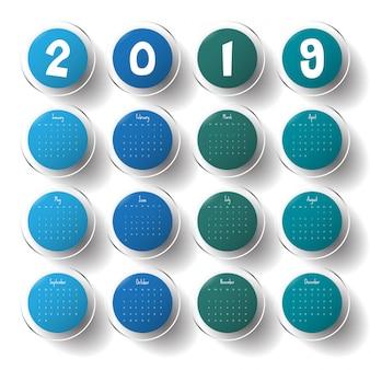 2019 modern calendar template