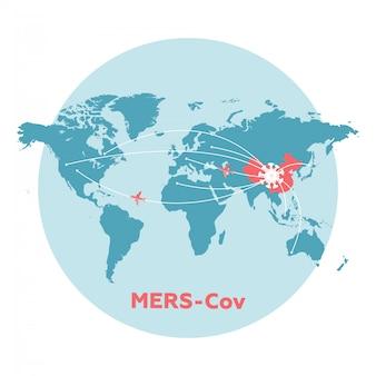 中国地図、矢印、浮遊インフルエンザウイルス細胞。 2019-ncov。中国病原体呼吸コロナウイルス2019-ncov。インフルエンザの世界拡散、危険な中国のncovコロナウイルス、sarsのパンデミックリスク警告。