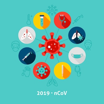 2019ncovコンセプトアイコン。オブジェクトと医療インフォグラフィックサークルのベクトルイラスト。