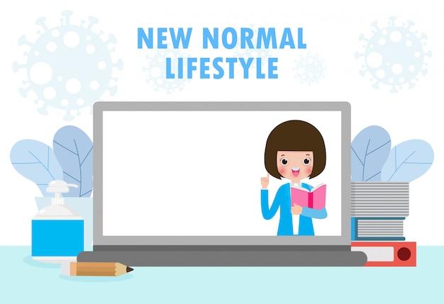 新しい通常のライフスタイルのために学校に戻って、ノートパソコンはコロナウイルス2019-ncovまたはcovid-19の間にオンライン教育を提示します。家にいて勉強しなさい。 eラーニングまたはe本の概念。孤立した