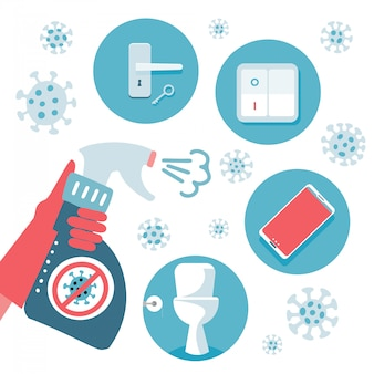 2019-ncov covid-19 virus protection tips. coronovirus alert. set of flat items to disinfect - door handle, toilet, telephone, switch. sanitizer in hand.