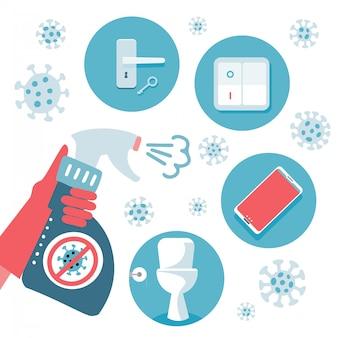 Советы по защите от вирусов 2019-ncov covid-19. предупреждение о короновирусе. набор плоских предметов для дезинфекции - дверная ручка, унитаз, телефон, выключатель. дезинфицирующее средство в руке.