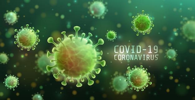 コロナウイルス2019-ncovおよび疾患細胞を含むウイルスの背景。 covid-19コロナウイルスの発生とパンデミック医療健康リスクの概念