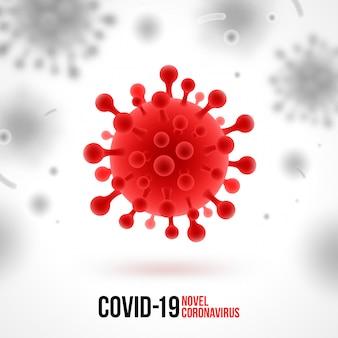 コロナウイルスの背景。白地に赤いウイルスのシンボル。新規コロナウイルス2019-ncovイラスト。危険なcovid-19パンデミックの概念。