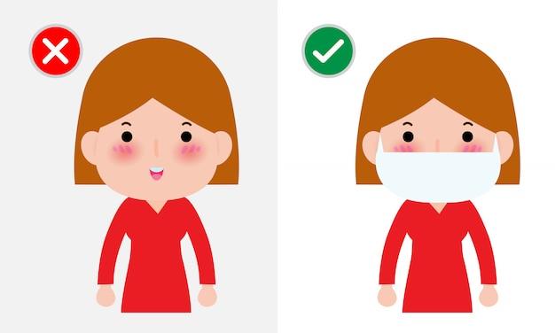 Концепция профилактики заболеваний коронавирусом 2019-ncov или covid-19, женщина с маской на лице и без маски, здравоохранение, изолированных на белом фоне иллюстрации