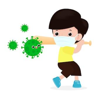 コロナウイルス病の予防。男はコロナウイルス(2019-ncov)、野球のバットとcovid-19、アンチウイルスと細菌、分離された健康的なライフスタイルのコンセプトを保持しているキャラクターの人々と戦う