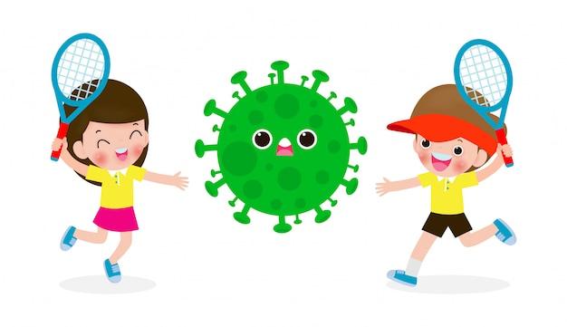人々はコロナウイルス(2019-ncov)と戦う、漫画のキャラクターの男と女の攻撃covid-19、子供とウイルスや細菌に対する保護、白い背景で隔離の健康的なライフスタイルのコンセプト
