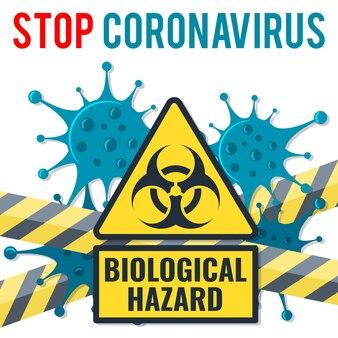 2019-ncov virus strain with biological hazard sign and guard tape. quarantine from wuhan coronavirus. pandemic coronavirus outbreak in china. isolated vector illustration