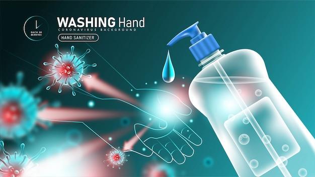 手の消毒剤を使用してコロナウイルスから保護する手洗い2019-ncov