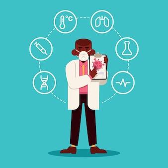 コロナウイルスのコンセプト2019-ncovと科学者