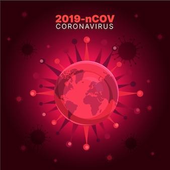 コロナウイルスのコンセプト2019-ncov地球の危機