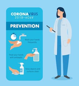 コロナウイルスの予防と医師の女性2019 ncov