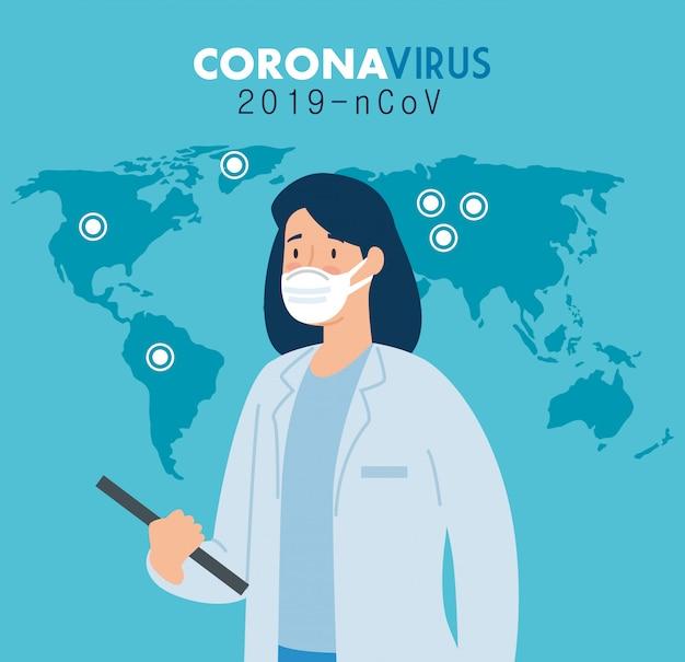 コロナウイルスのポスターの医師の女性2019 ncov