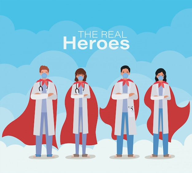 2019 ncovウイルスベクターデザインに対するケープ付き男性と女性の医師の英雄