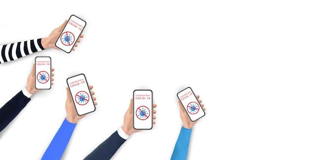 コロナウイルス2019-ncovの概念を停止します。コロナウイルスのアイコンと赤のスマートフォンを持っている手は、画面上のサインを禁止します。携帯電話を利用した社会的距離。