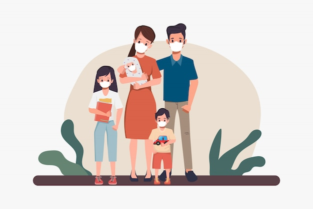 マスクを身に着けている家族の人々。コロナウイルス2019-ncove防止。新しい通常のライフスタイルコンセプト。