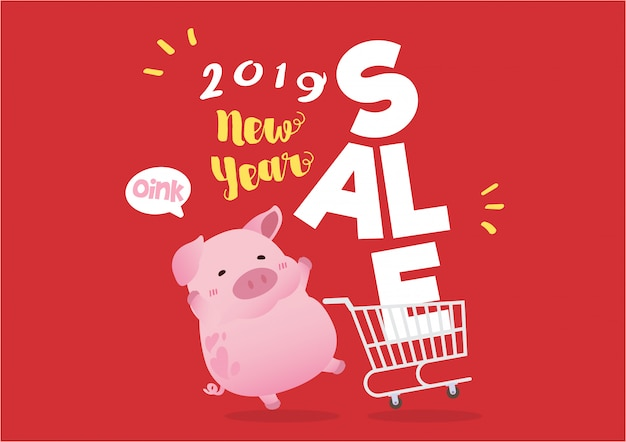 2019 new pig year sale concept illustration
