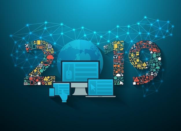 2019 new year business innovation technology set