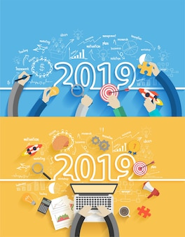 2019 new year business success creative drawing charts