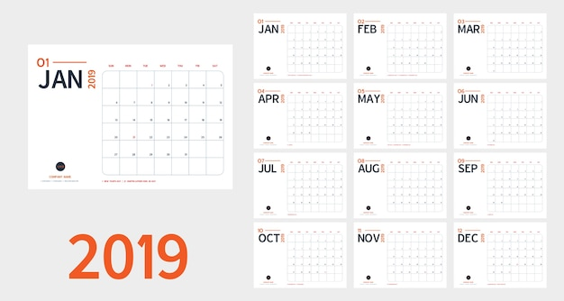 2019 new year calendar in clean minimal table simple style and blue and orange