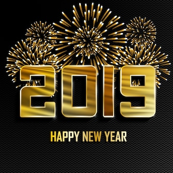 2019 new year golden background with fireworks.