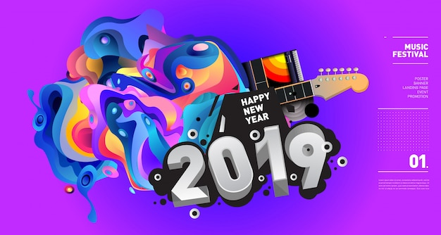 2019 new year music festival illustration
