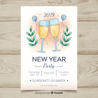2019 new year party banner template