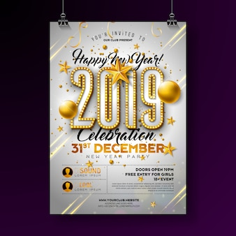 2019 new year party poster design