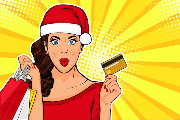 2019 new year pop art wow sexy young girl with bags and credit card