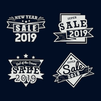 2019 new year sale badge vector set