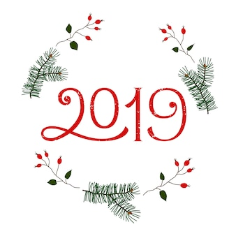 2019 new year winter holidays vector greeting card
