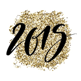 2019 numbers on golden glitter background.