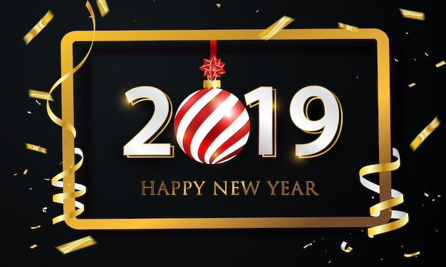 2019 party poster and happy new year background.