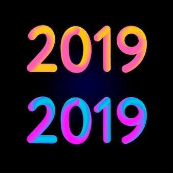 2019 text font with gradient style