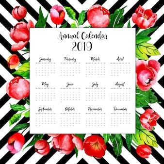 2019 watercolor floral annual calendar