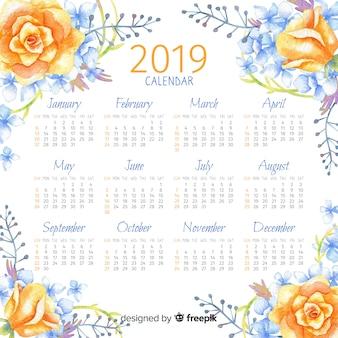 2019 watercolor floral calendar