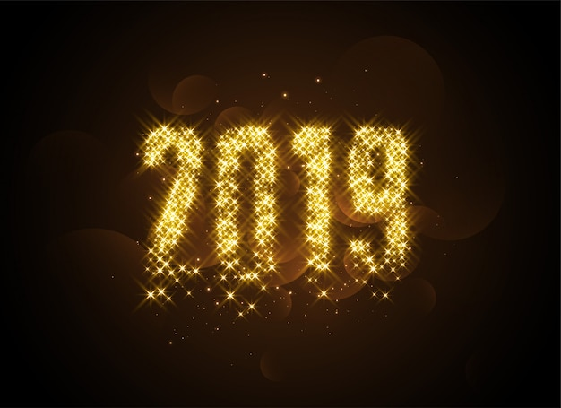 2019 writtern in golden glowing sparles