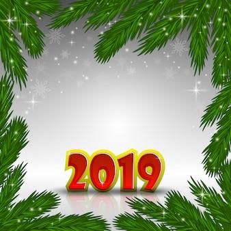 赤い新年2019の数字とxマスの樹木のフレーム