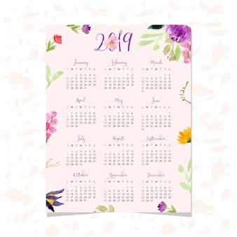 花の水彩の背景と美しいカレンダー2019