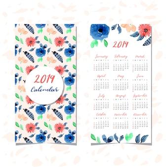 花の水彩のシームレスなパターンとカレンダー2019