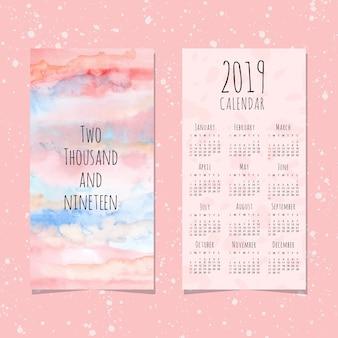 抽象的なパステルの水彩の背景と2019カレンダー