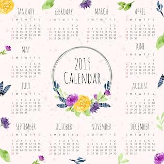 2019カレンダーと水彩花のフレーム